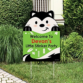 Little Stinker - Party Decorations - Woodland Skunk Baby Shower or Birthday Party Personalized Welcome Yard Sign