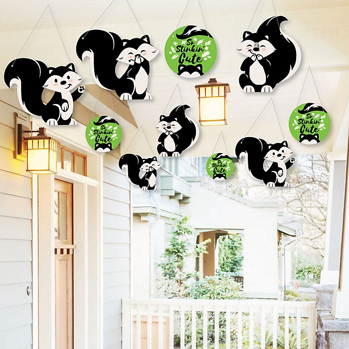Hanging Little Stinker - Woodland Skunk - Outdoor Baby Shower or Birthday Party Hanging Porch & Tree Yard Decorations - 10 Pieces