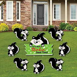Little Stinker - Woodland Skunk - Yard Sign & Outdoor Lawn Decorations - Baby Shower or Birthday Party Yard Signs - Set of 8