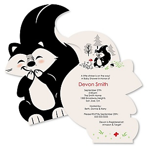 Little Stinker - Shaped Woodland Skunk Baby Shower Invitations - Set of 12