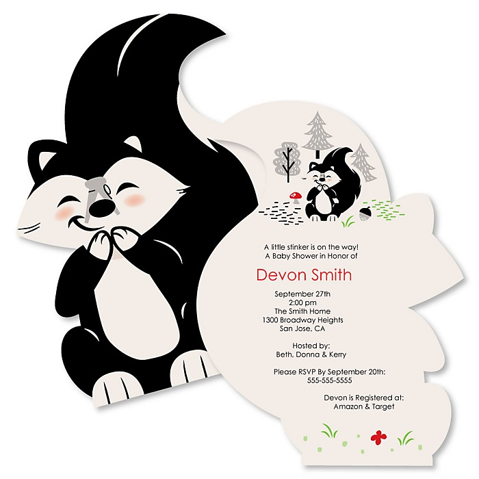 Little Stinker - Shaped Woodland Skunk Baby Shower Invitations - Set of 12