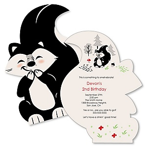 Little Stinker - Shaped Woodland Skunk Birthday Party Invitations - Set of 12