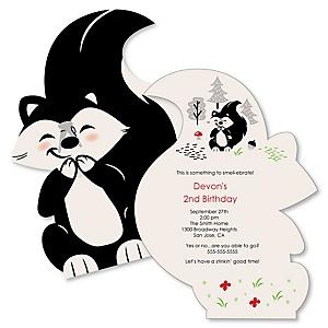 Little Stinker - Shaped Woodland Skunk Birthday Party Invitations - Set of 12