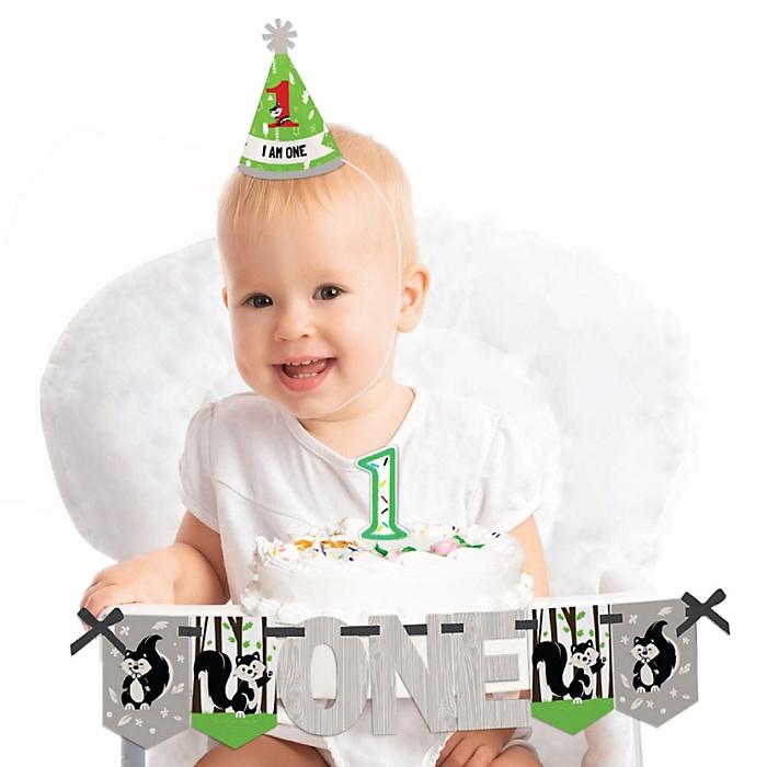 Little Stinker - Woodland Skunk 1st Birthday - First Birthday Girl or Boy Smash Cake Decorating Kit - High Chair Decorations