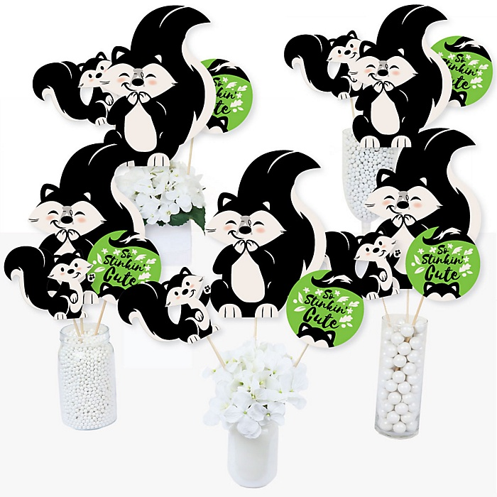 Little Stinker - Woodland Skunk Baby Shower or Birthday Party Centerpiece Sticks - Table Toppers - Set of 15
