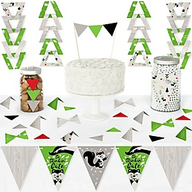 Little Stinker - DIY Pennant Banner Decorations - Woodland Skunk Baby Shower or Birthday Party Triangle Kit - 99 Pieces