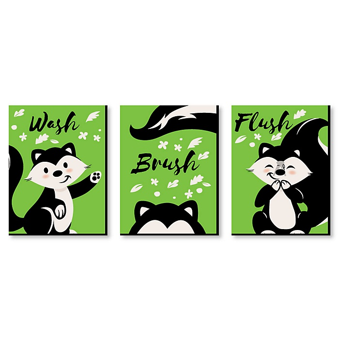 Little Stinker - Woodland Skunk - Kids Bathroom Rules Wall Art - 7.5 x 10 inches - Set of 3 Signs - Wash, Brush, Flush