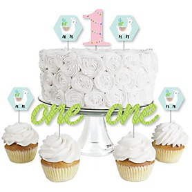 1st Birthday Whole Llama Fun - Dessert Cupcake Toppers - Llama Fiesta First Birthday Party Clear Treat Picks - Set of 24