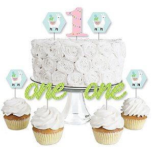 1st Birthday Whole Llama Fun - Dessert Cupcake Toppers - Llama Fiesta First Birthday Party Clear Treat Picks - Set of 24
