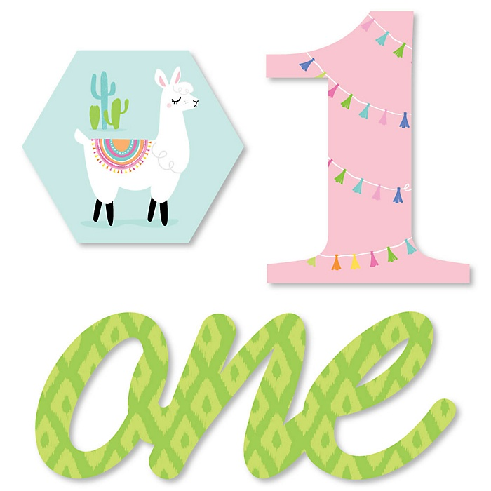 1st Birthday Whole Llama Fun - DIY Shaped Llama Fiesta First Birthday Party Cut-Outs - 24 ct
