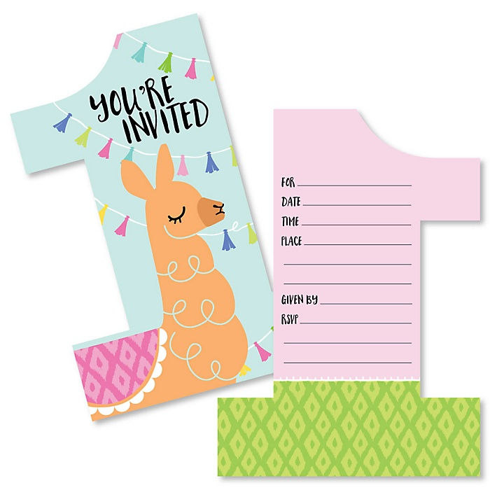1st Birthday Whole Llama Fun - Shaped Fill-In Invitations - Llama Fiesta First Birthday Party Invitation Cards with Envelopes - Set of 12