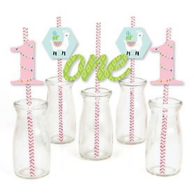 1st Birthday Whole Llama Fun - Paper Straw Decor - Llama Fiesta First Birthday Party Striped Decorative Straws - Set of 24