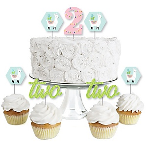 2nd Birthday Whole Llama Fun - Dessert Cupcake Toppers - Llama Fiesta Second Birthday Party Clear Treat Picks - Set of 24