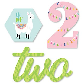 2nd Birthday Whole Llama Fun - DIY Shaped Llama Fiesta Second Birthday Party Cut-Outs - 24 ct
