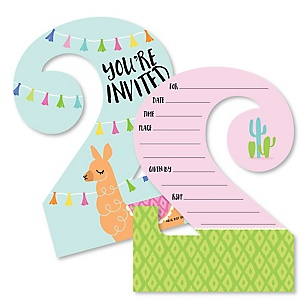 2nd Birthday Whole Llama Fun - Shaped Fill-In Invitations - Llama Fiesta Second Birthday Party Invitation Cards with Envelopes - Set of 12