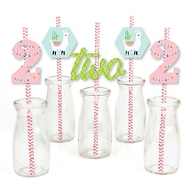 2nd Birthday Whole Llama Fun - Paper Straw Decor - Llama Fiesta Second Birthday Party Striped Decorative Straws - Set of 24