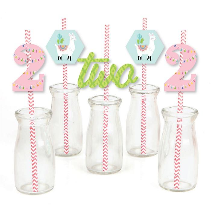 2nd Birthday Whole Llama Fun - Paper Straw Decor - Llama Fiesta Second Birthday Party Striped Decorative Straws - Set of 24