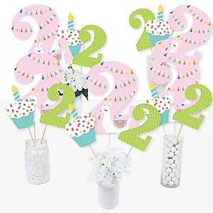 2nd Birthday Whole Llama Fun - Llama Fiesta Second Birthday Party Centerpiece Sticks - Table Toppers - Set of 15