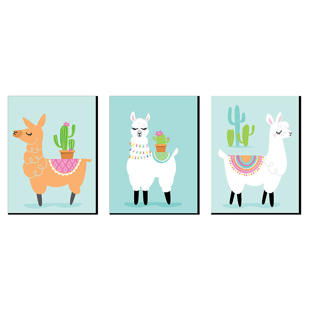 Whole Llama Fun Nursery Wall Art Kids Room Decor And Fiesta Home Decorations 7 5 X 10 Inches Set Of 3 Prints