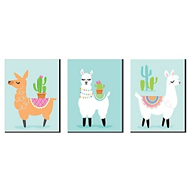 Whole Llama Fun - Nursery Wall Art, Kids Room Decor and Llama Fiesta Home Decorations - 7.5 x 10 inches - Set of 3 Prints