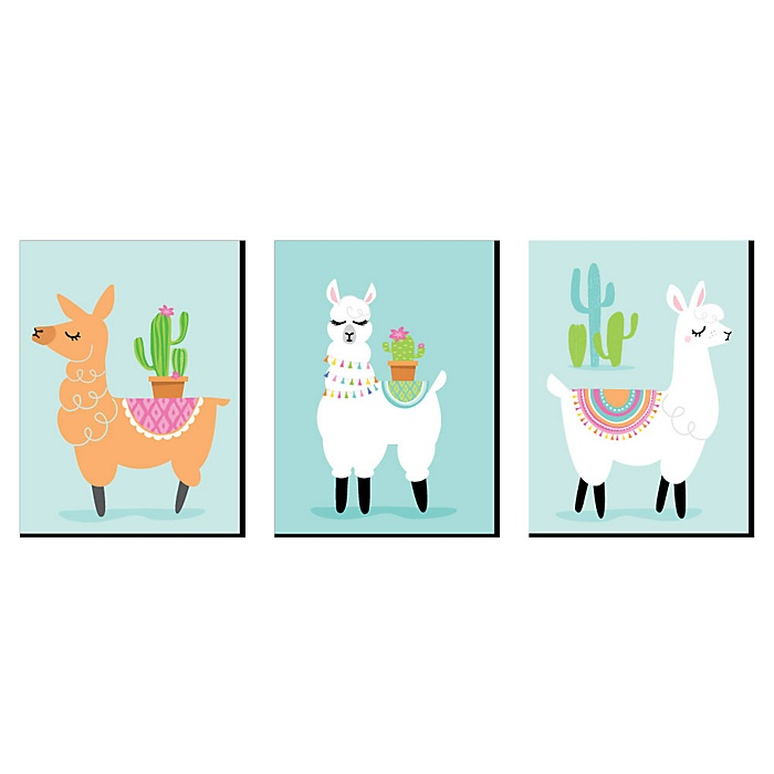 Whole Llama Fun - Nursery Wall Art, Kids Room Decor and Llama Fiesta Home Decorations - 7.5 x 10 inches - Set of 3 Prints