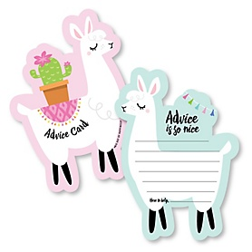 Whole Llama Fun - Wish Card Llama Fiesta Baby, Bridal Shower or Bachelorette Party Activities - Shaped Advice Cards Game - Set of 20