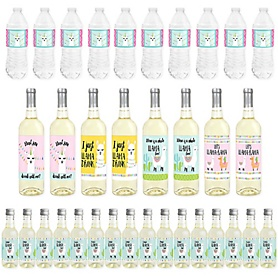 Whole Llama Fun - Mini Wine Bottle Labels, Wine Bottle Labels and Water Bottle Labels - Llama Fiesta Baby Shower or Birthday Party Decorations - Beverage Bar Kit - 34 Pieces