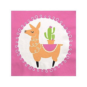 Whole Llama Fun - Llama Fiesta Baby Shower or Birthday Party Cocktail Beverage Napkins - 16 ct