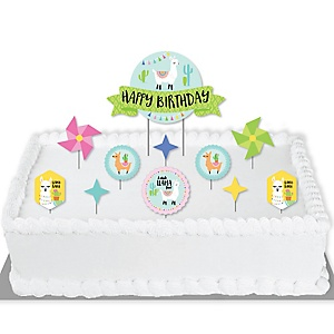 Whole Llama Fun - Llama Fiesta Birthday Party Cake Decorating Kit - Happy Birthday Cake Topper Set - 11 Pieces