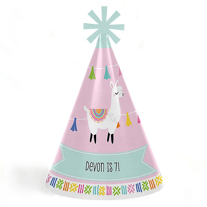 Whole Llama Fun - Personalized Cone Happy Birthday Party Hats for Kids and Adults - Set of 8 (Standard Size)