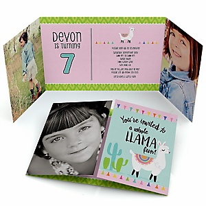 Whole Llama Fun - Personalized Birthday Party Photo Invitations - Set of 12
