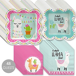 Whole Llama Fun - Llama Fiesta Baby Shower or Birthday Party Tableware Plates and Napkins - Bundle for 48
