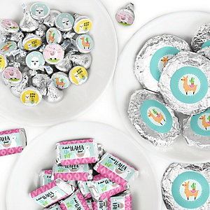 Whole Llama Fun - Mini Candy Bar Wrappers, Round Candy Stickers and Circle Stickers - Llama Fiesta Baby Shower or Birthday Party Candy Favor Sticker Kit - 304 Pieces