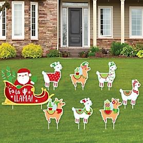 Llama Christmas Sleigh - Yard Sign and Outdoor Lawn Decorations - Fa La Llama Holiday Party Yard Signs - Set of 8