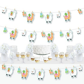 Whole Llama Fun - Llama Fiesta Baby Shower or Birthday Party DIY Decorations - Clothespin Garland Banner - 44 Pieces