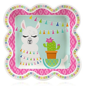 Whole Llama Fun - Llama Fiesta Baby Shower or Birthday Party Dinner Plates - 16 ct