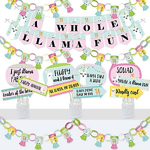 Whole Llama Fun - Banner and Photo Booth Decorations - Llama Fiesta Baby Shower or Birthday Party Supplies Kit - Doterrific Bundle