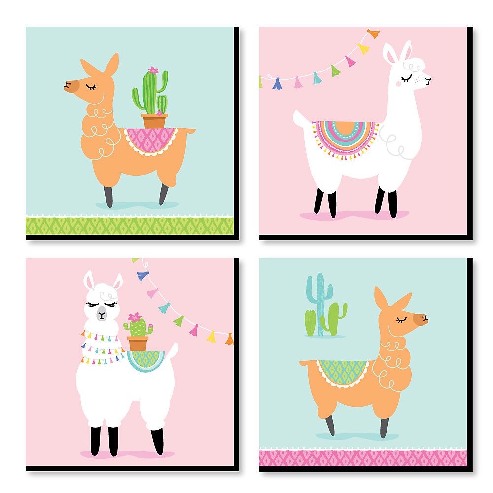 Whole Llama Fun Kids Room Nursery Decor And Home 11 X Inches Wall Art Set Of 4 Prints For Baby S
