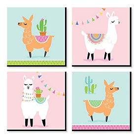 Whole Llama Fun - Kids Room, Nursery Decor and Home Decor - 11 x 11 inches Nursery Wall Art - Set of 4 Prints for Baby's Room