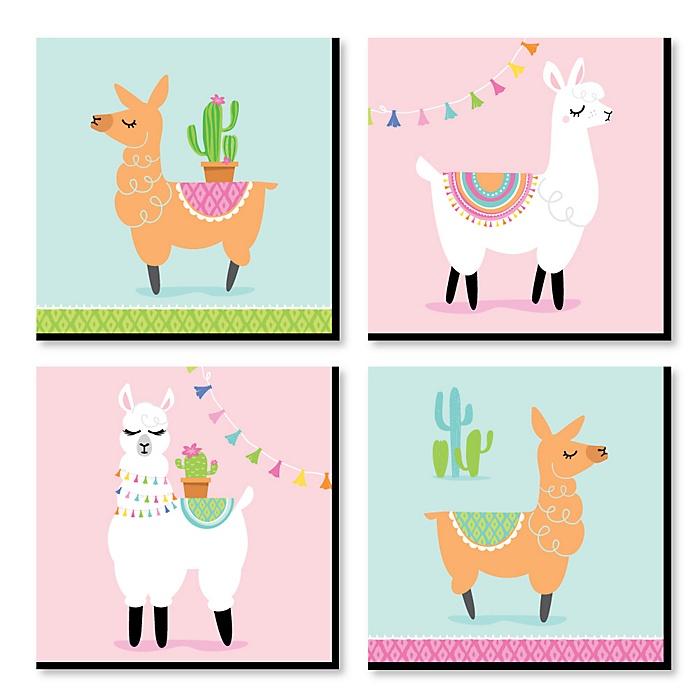 Whole Llama Fun - Kids Room, Nursery Decor and Home Decor - 11 x 11 inches Nursery Wall Art - Set of 4 Prints for Baby's Room