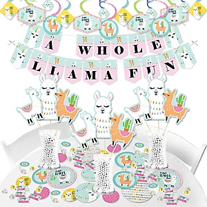 Whole Llama Fun - Llama Fiesta Baby Shower or Birthday Party Supplies - Banner Decoration Kit - Fundle Bundle