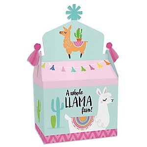 Whole Llama Fun - Treat Box Party Favors - Llama Fiesta Baby Shower or Birthday Party Goodie Gable Boxes - Set of 12