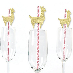 Gold Glitter Llama Party Straws - No-Mess Real Gold Glitter Cut-Outs and Decorative Llama Fiesta Baby Shower or Birthday Party Paper Straws - Set of 24