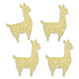 Gold Glitter Llama - No-Mess Real Gold Glitter Cut-Outs - Llama Fiesta Baby Shower or Birthday Party Confetti - Set of 24