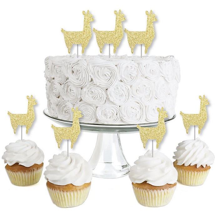Gold Glitter Llama - No-Mess Real Gold Glitter Dessert Cupcake Toppers - Llama Fiesta Baby Shower or Birthday Party Clear Treat Picks - Set of 24