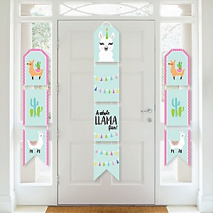 Whole Llama Fun - Hanging Vertical Paper Door Banners - Llama Fiesta Baby Shower or Birthday Party Wall Decoration Kit - Indoor Door Decor