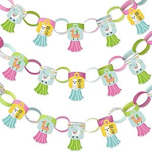 Whole Llama Fun - 90 Chain Links and 30 Paper Tassels Decoration Kit - Llama Fiesta Baby Shower or Birthday Party Paper Chains Garland - 21 feet