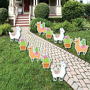 Whole Llama Fun - Lawn Decorations - Outdoor Llama Fiesta Baby Shower or Birthday Party Yard Decorations - 10 Piece