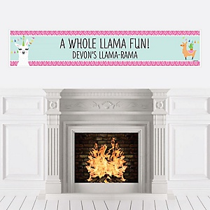 Whole Llama Fun - Personalized Llama Fiesta Baby Shower or Birthday Party Banner