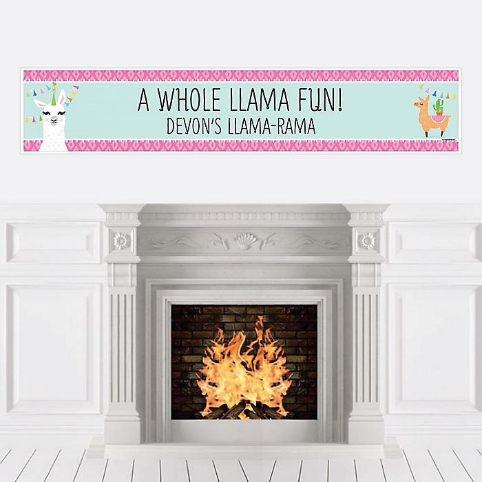 Whole Llama Fun - Personalized Llama Fiesta Baby Shower or Birthday Party Banner